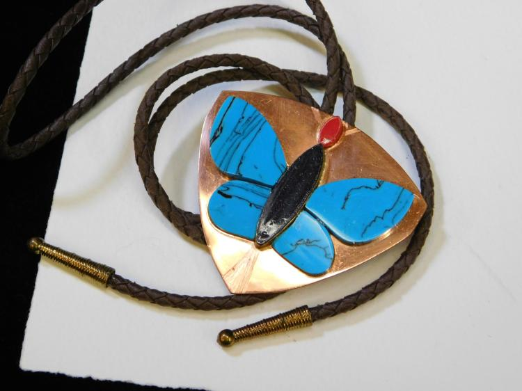 Southwestern Mexico Copper Faux Turquoise Purple Goldstone Butterfly Bolo Tie