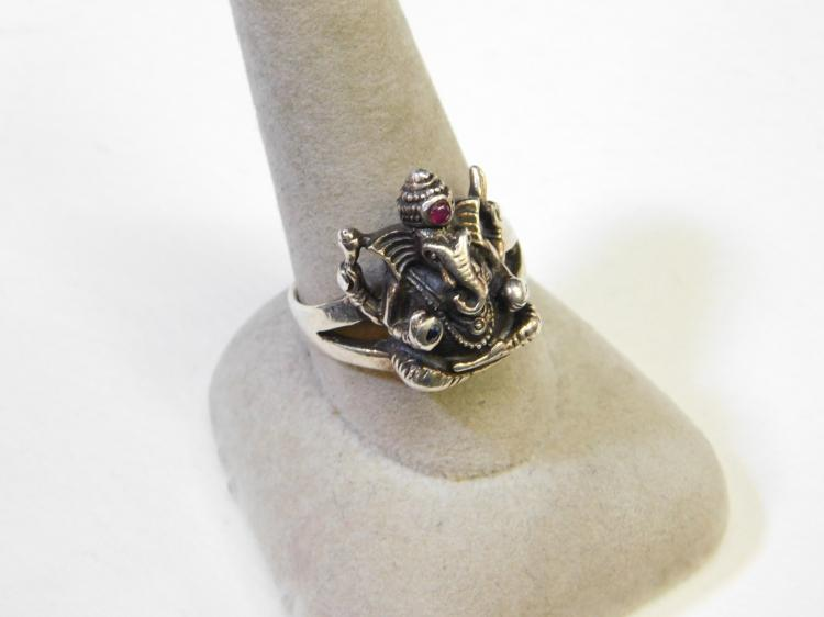 Vintage Sterling Silver Ganesh Hindu Deity Ruby Sapphire Ring Size 10