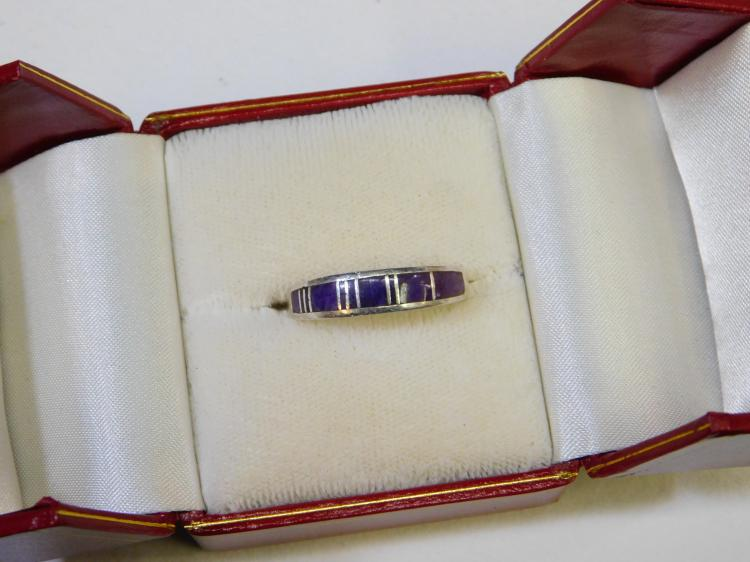 Zuni Sterling Silver Sugilite Inlaid Ring Size 8.75