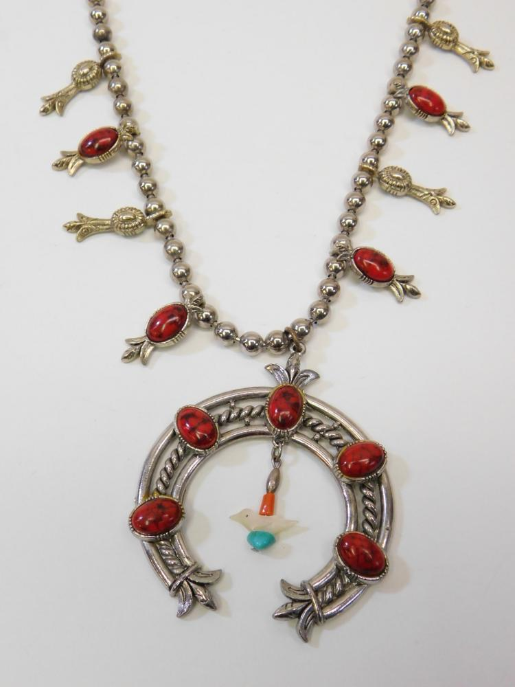 Lot 46: Vintage Navajo Style Costume Jewelry Faux Coral Squash Blossom Necklace