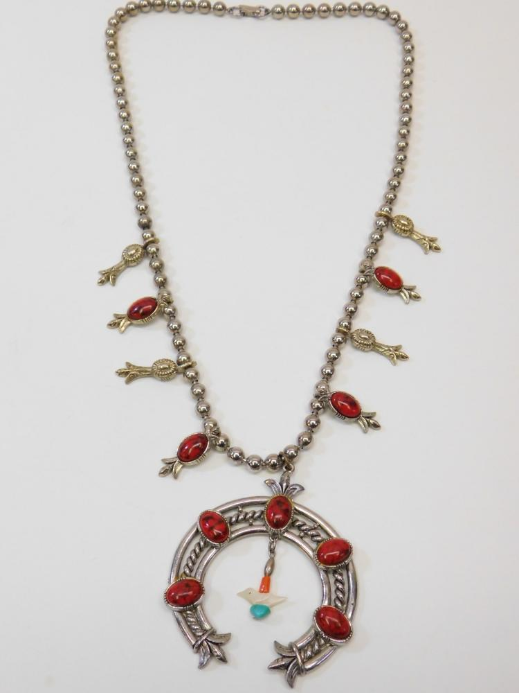 Vintage Navajo Style Costume Jewelry Faux Coral Squash Blossom Necklace