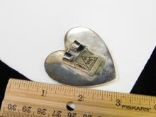 Lot 49: Vintage Navajo Sterling Silver Large Heart Bolo Tie Signed Oo 19.3G