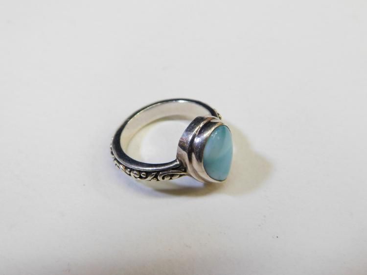 Lot 50: Modern Sterling Silver Larimar Fashion Rings Size 6.5