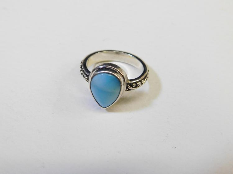 Modern Sterling Silver Larimar Fashion Rings Size 6.5