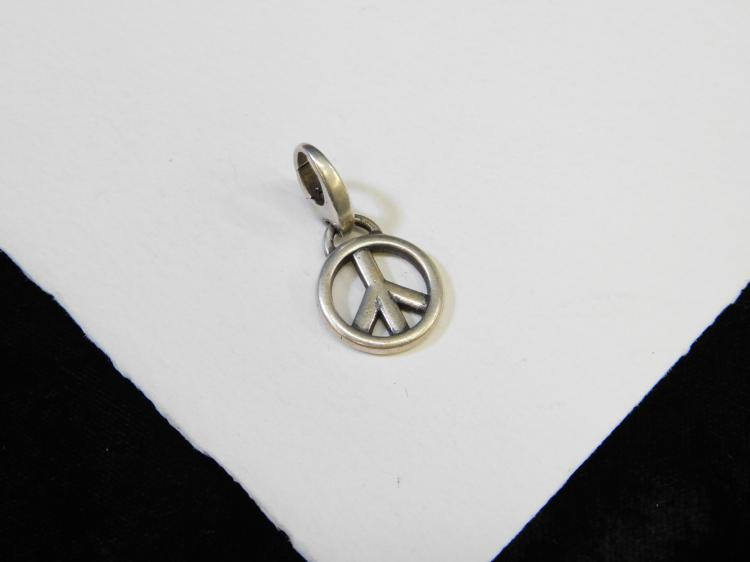 2007 Sterling Silver Peace Sign Pendant With Bead Clasp Bale
