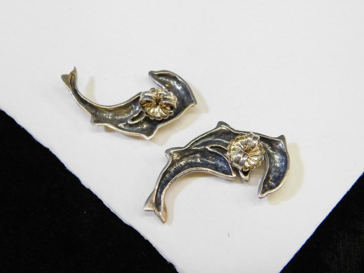 Lot 54: Modern Sterling Silver Triple Dolphin Post Earrings 11G