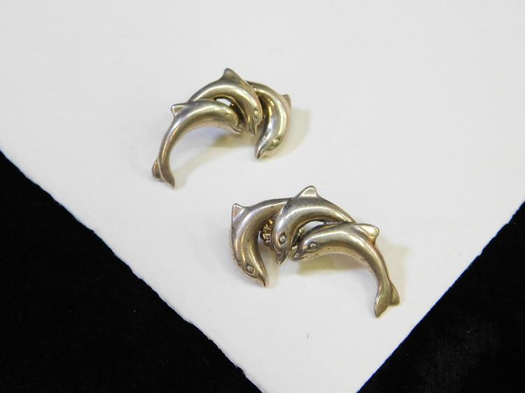 Modern Sterling Silver Triple Dolphin Post Earrings 11G