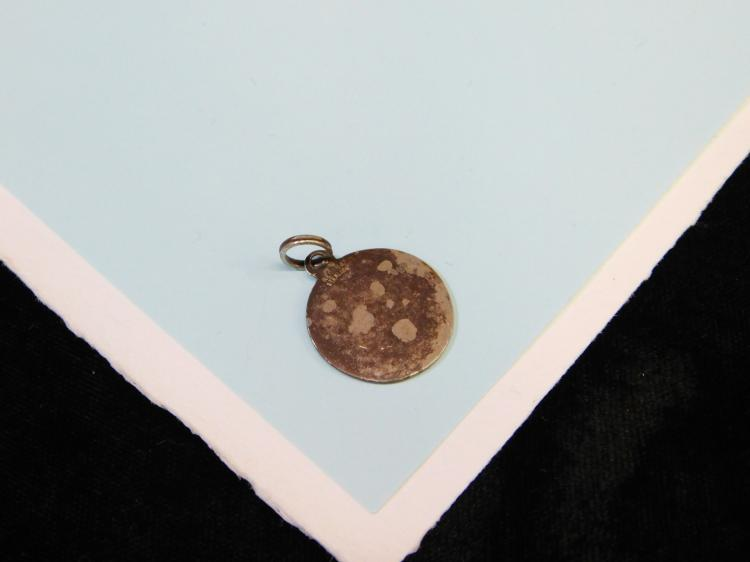 Lot 55: Vintage Regina Sterling Silver Saint Christopher Protect Us Enameled Pendant Or Charm