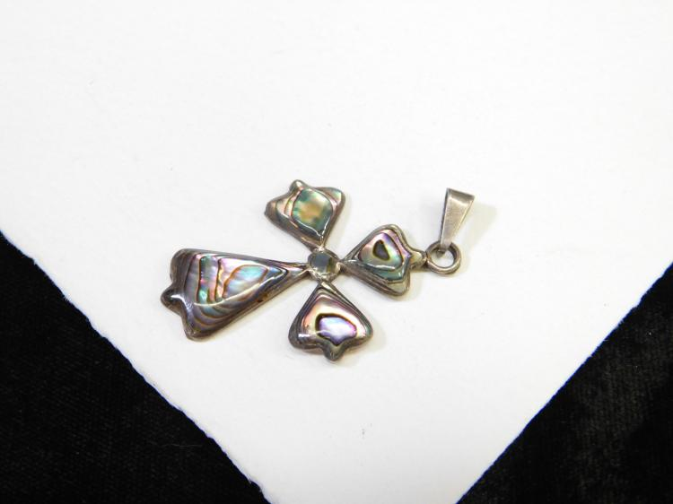 Vintage Handmade Sterling Silver Mexico Abalone Religious Cross Pendant Signed Am