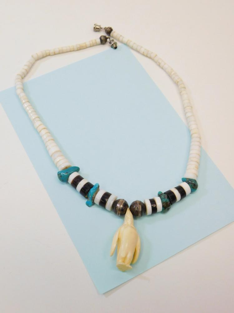 Vintage Navajo Bench Bead Turquoise Shell Beaded Necklace With Carved Ivory Penguin Pendant