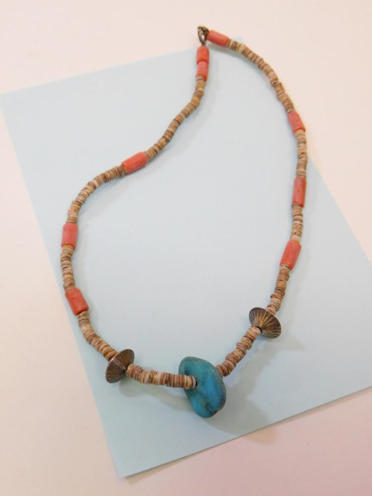 Vintage Navajo Sterling Silver Bench Bead Turquoise Coral Shell Choker Necklace