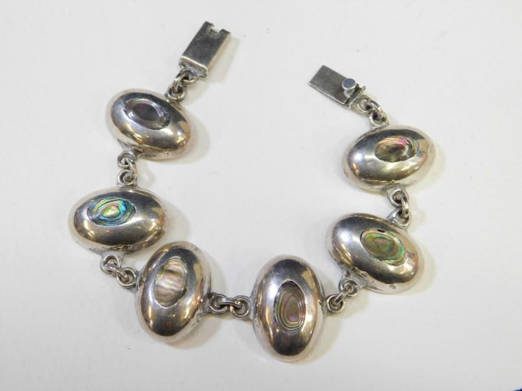 Vintage Taxco Mexico Sterling Silver Inlaid Abalone Chunky Silver Bracelet 36G
