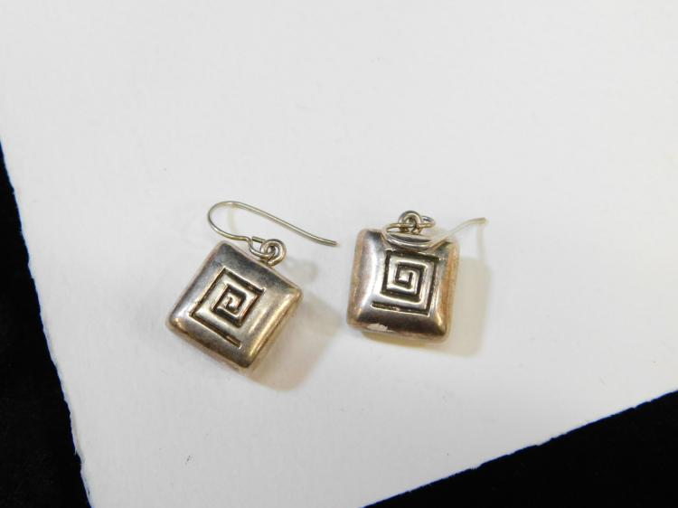 Vintage Sterling Silver Puffy Square Dangle Earrings 6.6G