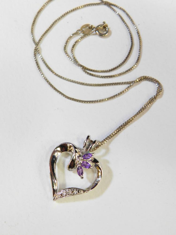 Modern Sterling Silver Amethyst Diamond Chip Heart Pendant On Italian Sterling Box Chain Necklace