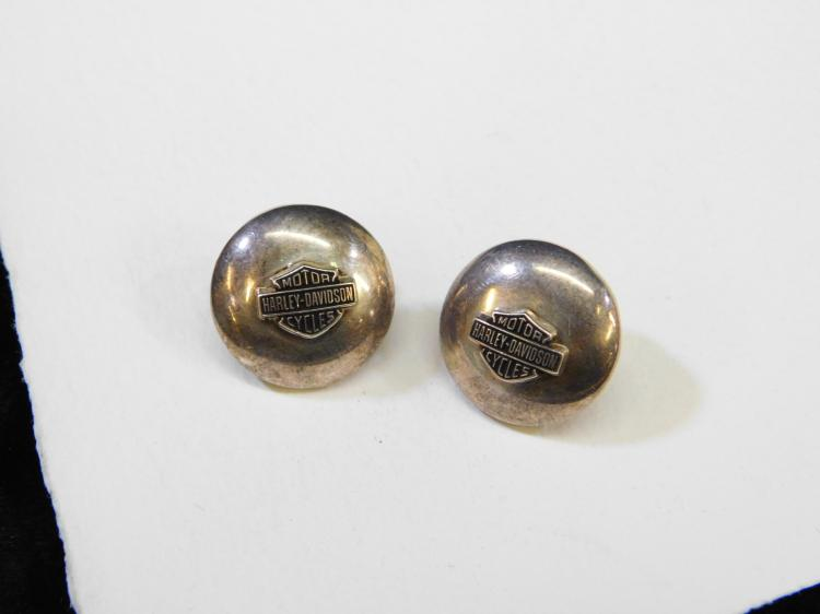 Vintage Sterling Silver Harley-Davidson Motorcycles Emblem Button Post Earrings 12.2G