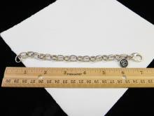 Lot 67: Modern Sterling Silver Charitycharms.Com Large Linkcharm Bracelet 25.9G