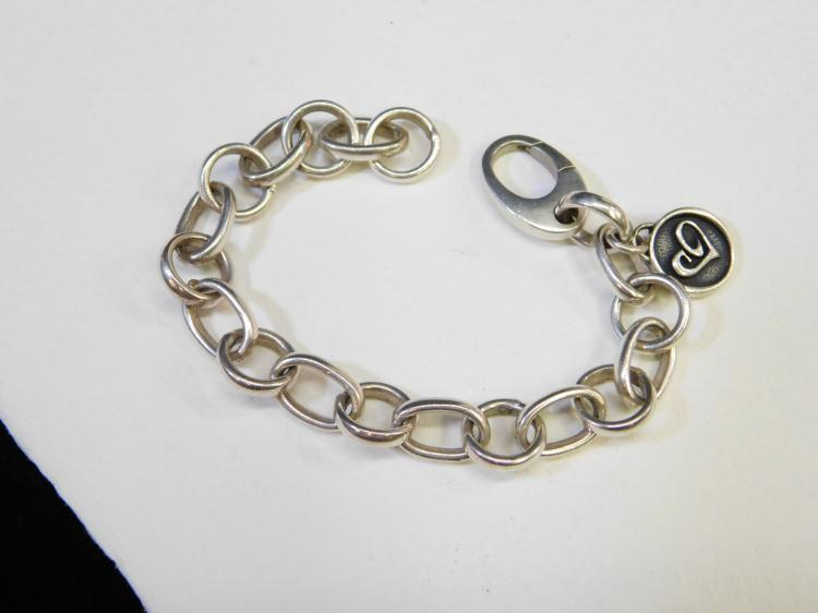 Modern Sterling Silver Charitycharms.Com Large Linkcharm Bracelet 25.9G