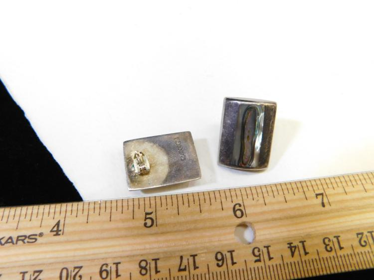 Lot 68: Vintage Sterling Silver Inlaid Abalone Earrings Signed Mexico 925