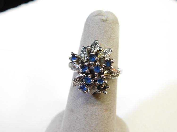 Vintage Sterling Silver Blue Sapphire Cluster Ring Size Six