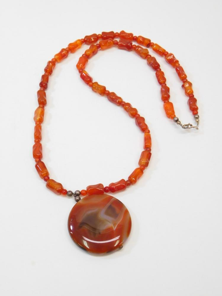 Beautiful Sterling Silver Handmade Carnelian Pendant On Carnelian Beaded Necklace