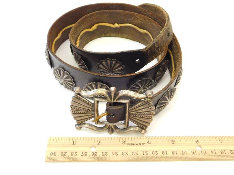 Lot 72: Antique Sand Cast Navajo Coin Silver Belt Buckle And Sterling Concho Belt
