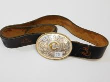"Lot 73: Vintage Montana Silversmith Silver Plated Initial C Belt Buckle On Tooled Leather 41"" Belt"