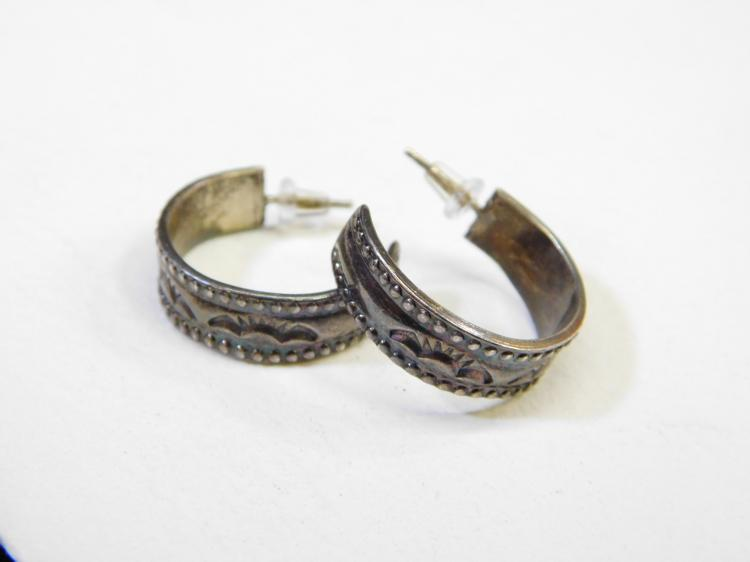Vintage Navajo Sterling Silver Stamped 3/4 Hoop Earrings 8.2G