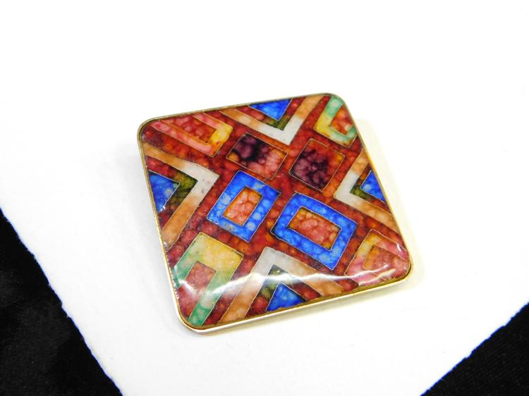 Modern Costume Jewelry Multi-Colored Art Glass Large Fashion Brooch