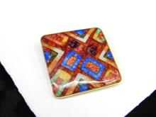 Lot 76: Modern Costume Jewelry Multi-Colored Art Glass Large Fashion Brooch