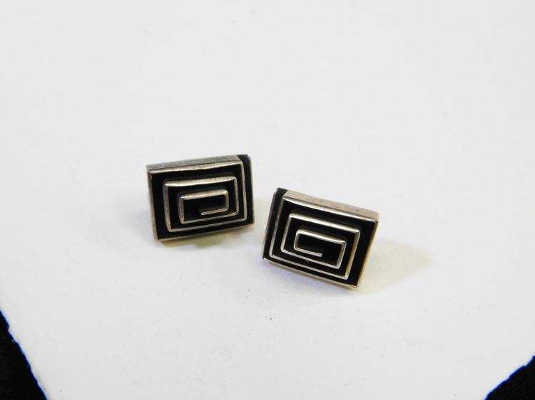 Vintage Mexico Dominique Dinouart Modernist Art Deco Post Earrings 12.3G
