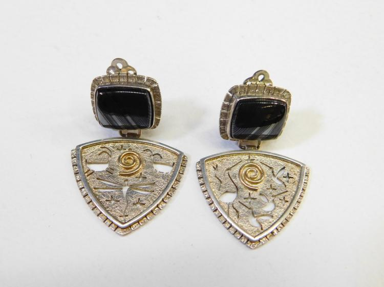 Myron Panteah Navajo Hopi Sterling & 14Kt Gold Banded Black Agate Incised Petroglyph Earrings
