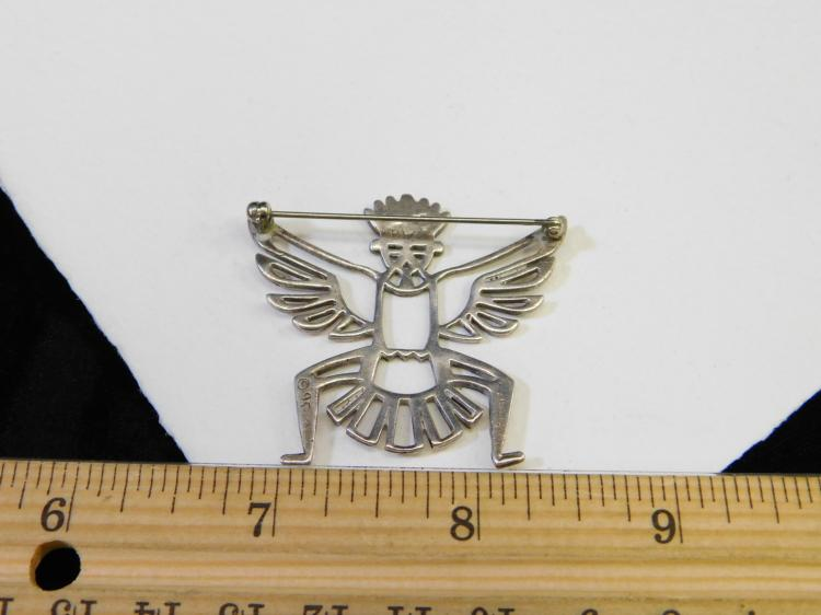 Lot 84: Vintage Sterling Silver Eagle Dancer Kachina Pin Brooch Signed Bw 9.7G
