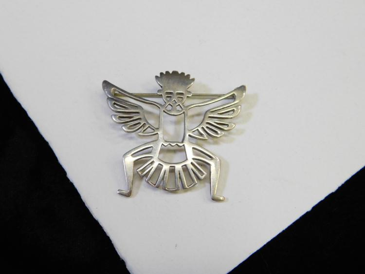 Vintage Sterling Silver Eagle Dancer Kachina Pin Brooch Signed Bw 9.7G