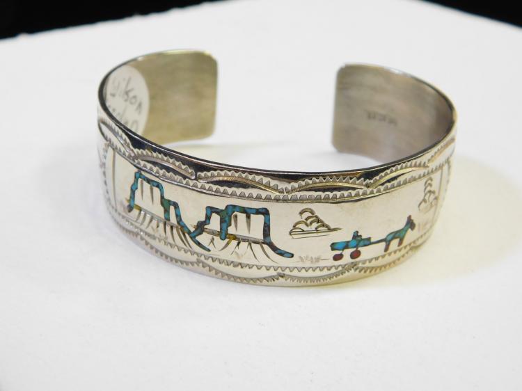 Vintage Navajo Wilson Carolyn Begay Nickel Silver Inlaid Horse Wagon Mountain Scene Cuff Bracelet