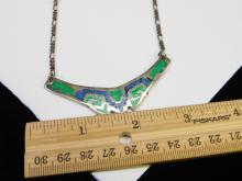 Lot 87: Vintage Alpaca Mexico Nickel Silver Chip Inlay Bib Necklace