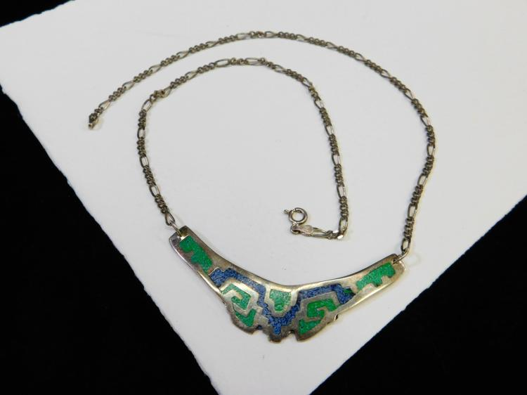 Vintage Alpaca Mexico Nickel Silver Chip Inlay Bib Necklace