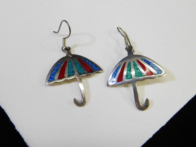 Vintage Taxco Mexico Sterling Silver Chip Inlay Umbrella Dangle Earrings 14G