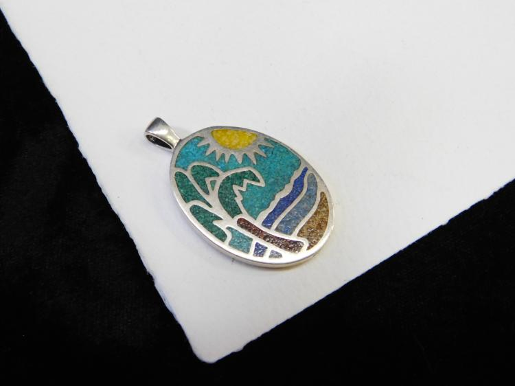 Sterling Silver Chip Inlay Beach Ocean Scene Reversible Pendant 16.5G