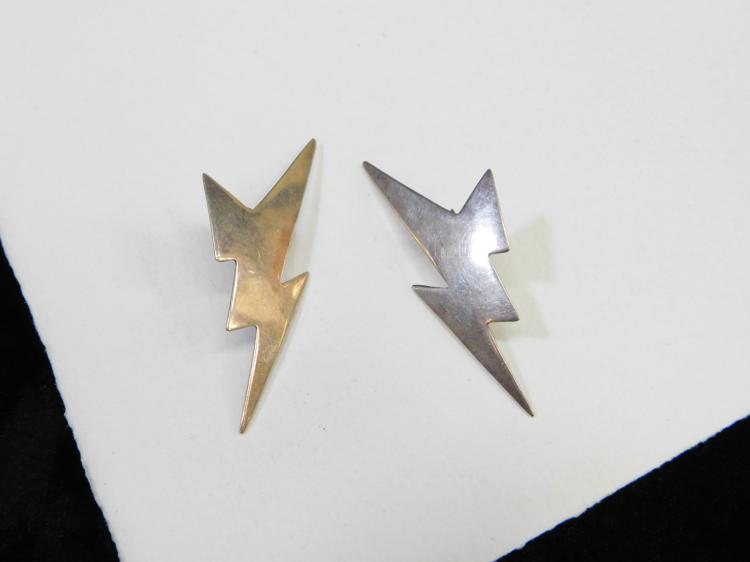 Vintage Sterling Silver Lightning Bolt M&W Fashion Earrings 6.3G