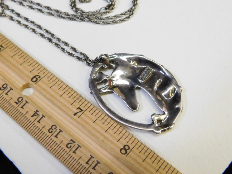 Lot 95: Vintage Gorham Sterling Silver Unicorn Pendant Necklace 18.9G