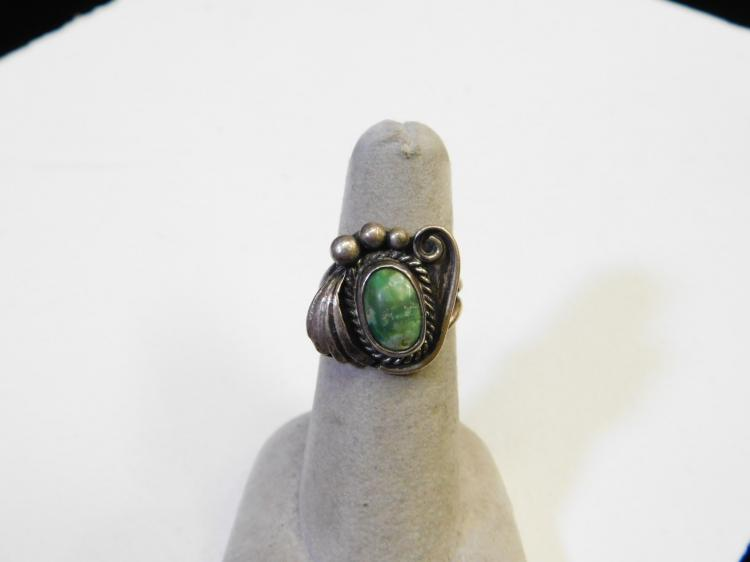 Vintage Navajo Sterling Silver Green Turquoise Ring Size Six