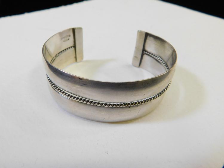 Vintage Navajo Sterling Silver Cuff Bracelet Signed Tahe 37.2G