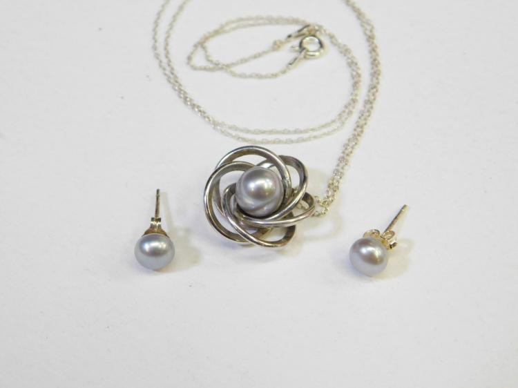 Vintage Sterling Silver Art Deco Grey Pearl Pendant Necklace With Earrings