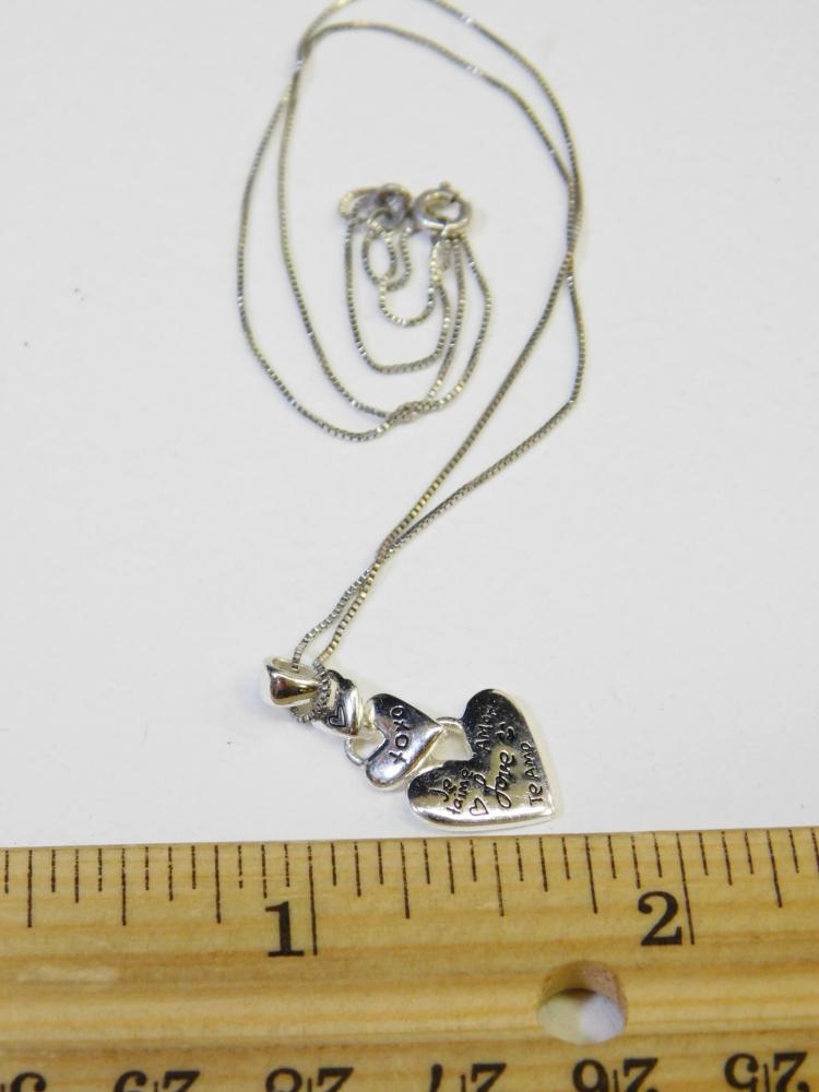 Lot 102: Modern Sterling Silver Triple Heart Pendant Live Laugh Love Necklace