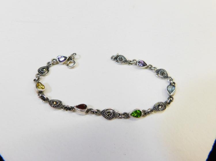Vintage Sterling Silver Marcasite Amethyst Citrine Garnet Peridot Topaz Fashion Bracelet 7.7G