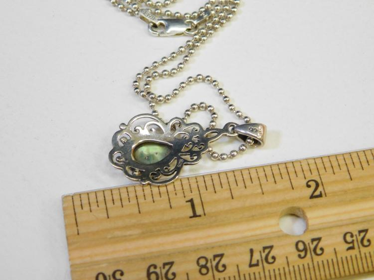 Lot 104: Modern Sterling Silver Abalone Pendant On 23 Inch Ball Chain Necklace