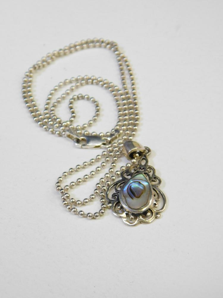 Modern Sterling Silver Abalone Pendant On 23 Inch Ball Chain Necklace