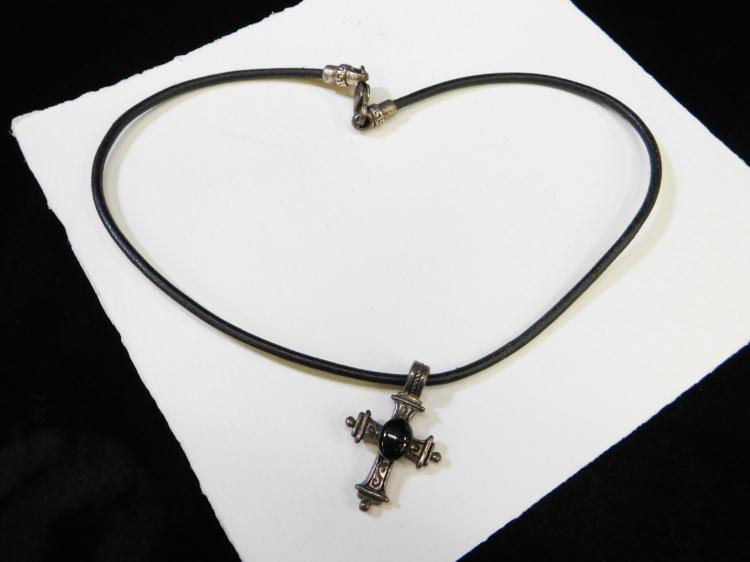 Sterling Silver Jet Religious Cross Pendant Necklace With Heavy Sterling Clasp On Leather