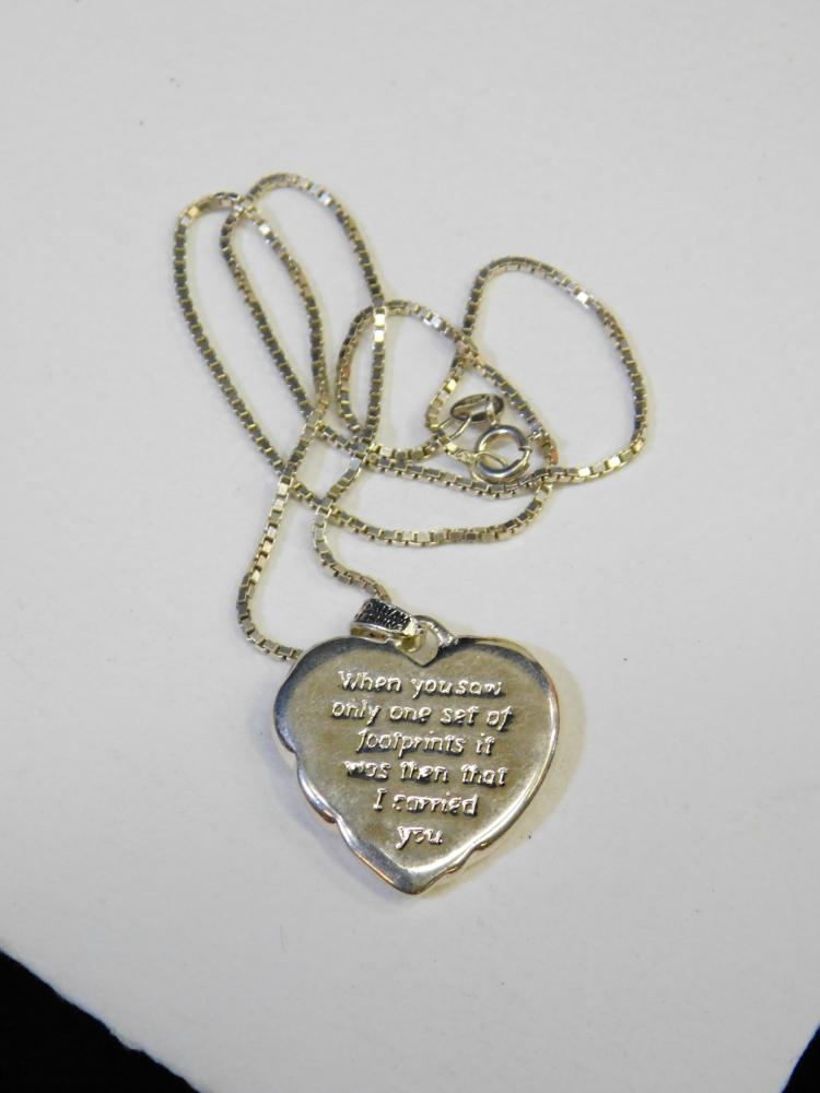 Lot 108: Vintage Gorham Sterling Silver Footprints Heart Pendant On Box Chain Necklace 16.5G