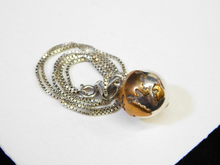 Lot 110: Mexico Mixed Metals Sterling Silver & Copper World Globe Bell Charm Pendant Necklace